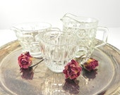 Vintage Clear Glass Creamer Collection.... Eclectic Cream Pitchers... Cottage Chic Style Serving