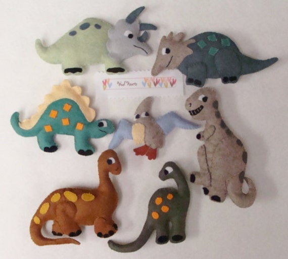Dinosaurs PDF pattern Hand Applique Stitch and Stuff by woolhearts
