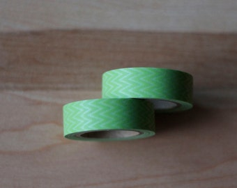 Japanese Washi Tape - Masking Tape Roll in Green Zig Zag Pattern - Chevron Pattern