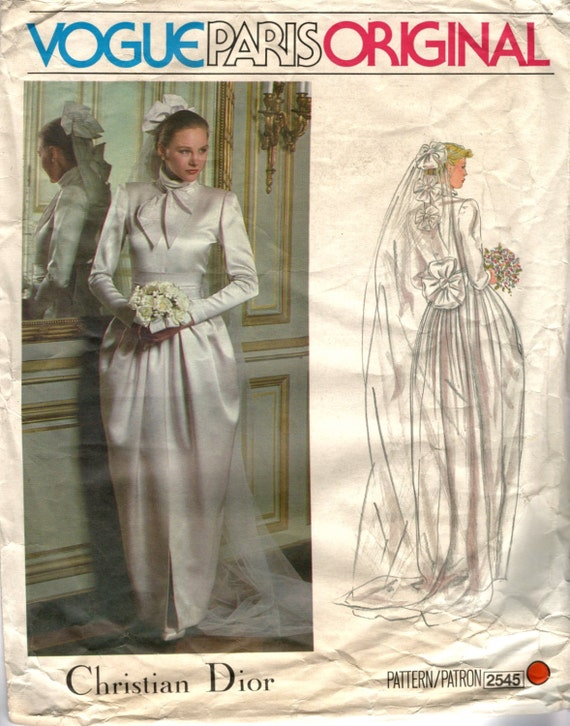 1979 Christian Dior couture bridal gown pattern - Vogue 2545
