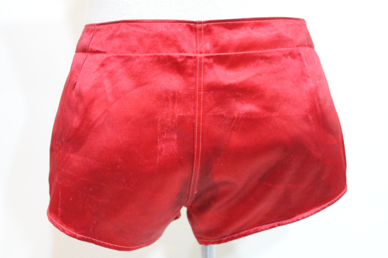 40s Boxing Boxer Shorts Athletic Men Red Satin Metal Buckle