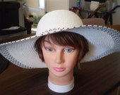 "RESERVED for Krissy  White Parasisal Straw Hat with Dark Gray trim 4"" brim 21.5"" Church"