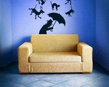 Raining Cats and Dogs, Man, Umbrella - Decal, Vinyl, Sticker, Wall, Home, Park, Office, School Decor
