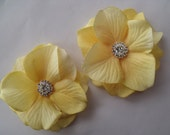 Wedding Hair Flowers - Bridal Double Hydrangea Blossoms  - Rhinestone Centers - Alligator Clips - Romantic Dainty - sunny  mustard yellow