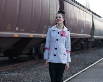 Whitney Jacket - Front Yoke Accent, Sleeve Tabs, Fully Lined, Bow Accent, Large Collar, Wrap Sleeve Cuffs, Red, Blue, White, Mint, Black