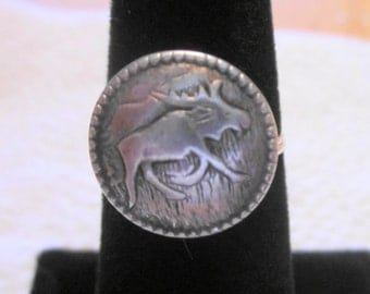 Moose Pewter Button Ring, Wire Wrapped