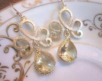 Citrine Earrings Gold Tiara Connectors - Bridesmaid Earrings - Wedding Earrings - Bridesmaid Jewelry Gift