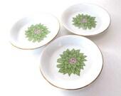 Vintage Coasters Porcelain Ivory Green Pink Flower