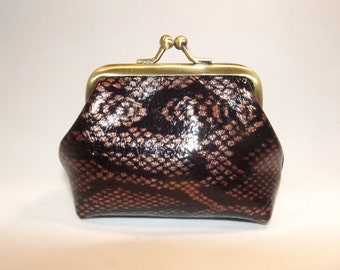 Small Faux Leather Coin Purse, snake print, animal print, glossy,gift