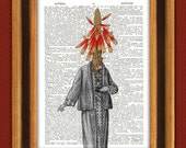 Lady Aloe Print Dictionary 2, Dictionary Art Vintage Print, Wall Art, Kitchen Art, Upcycled book page print