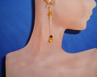 Crystal Earrings in Red/Amber