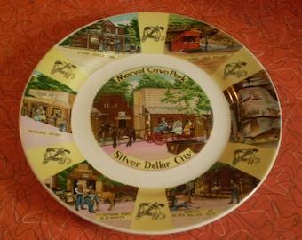 Vintage Souvenir Porcelain Plate Silver Dollar City and Marvel Cave Park Missouri 1950's
