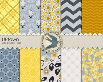 "Digital Scrapbook Paper Pack - UPtown - non-textured 10 digital papers 12"" x 12""Yellow and Blue Grey pack - Instant Download"