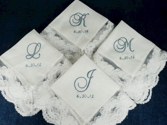 Embroidered Personalized Bridesmaids Monogrammed Wedding Handkerchiefs from the Bride to her Bridesmaids