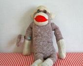 vintage 50/60's sock monkey - MONKEYING AROUND stuffed animal