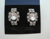 Vintage Clear Rhinestone Earrings - 1950s Screwback Style Sparkling RS Earrings