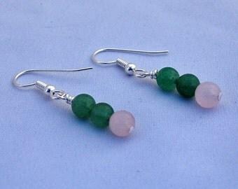Green Aventurine & Pink Rose Quartz Dangle Earrings, Drop Earrings, January Birthstone, Trending Earrings, Trending Jewelry