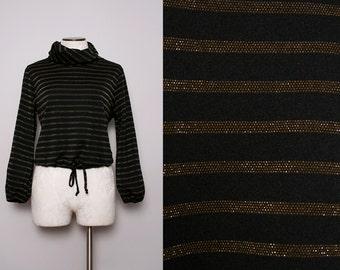 70s Disco Top / Vintage 1970s Black Turtle Neck Blouse w/ Gold Stripes / Medium Large