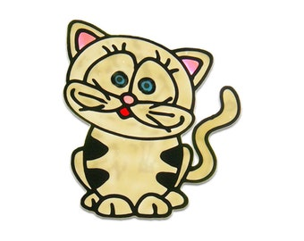Cat - stained glass window clings-  handmade window sticker / decal -  kids room - baby bath - home decoration