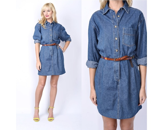 Vintage 80s Blue Jean Denim Dress Mini Secretary Slouchy