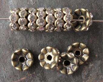 10mm Wavy Rhinestone Rondelle Beads Brass OX Clear Czech Glass (12)