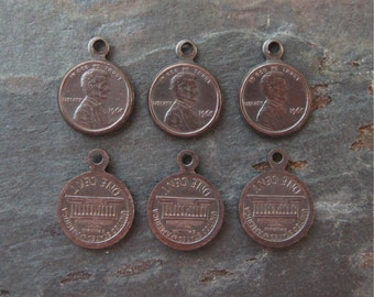 Copper Tiny Lincoln Penny Charms Hand Oxidized 10x13mm 2-Sided Stampings (6)