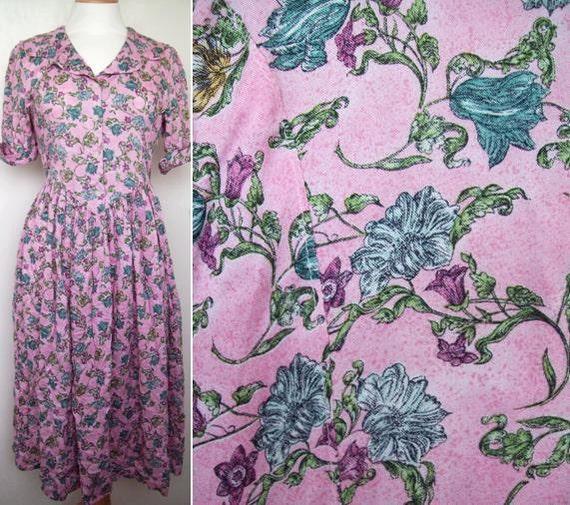 Vintage 1980s Vivien Smith Floral Wide Collared Button Down Midi Dress Size 8 UK, 4 US, 36 EU