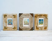 Rustic Distressed Wood Metal Frames, Colorful Still life Framed Prints Impressionism Wall art, Collectible rusted Frame Set wall decorations