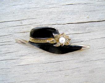 Retro Enamel Black and White Hat Brooch, Mid century Rhinestone Pearl Pin Brooch, Mad Men inspired Mod jewelry, 60s Mod fashion accessories