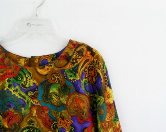 Boho Colorful Woman Shirt, Summer top, Size M, Casual Fashion, Gift for woman, Geometric, Neon, Floral