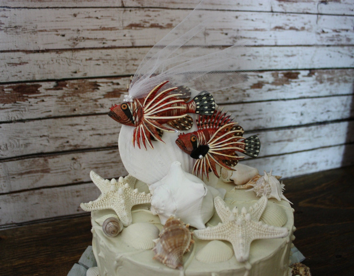 Loving Lion Fish Salt Water Fish Wedding Cake Topper Beach