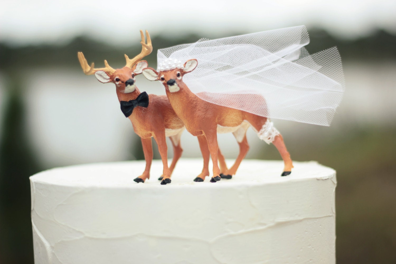 Deer wedding cake topper Hunting wedding cake by