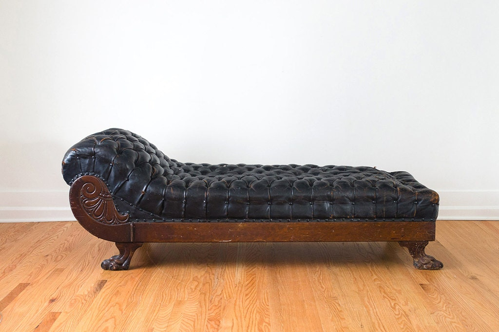Reserved antique distressed leather chaise by karpen furniture for Antique leather chaise