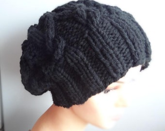 Handmade Knitt Cable Hat Beanien Slouchy Black Hat Beanie Large  for Men and Women  BLACK Oversized Hat - Chunky Knit Cable knit hat