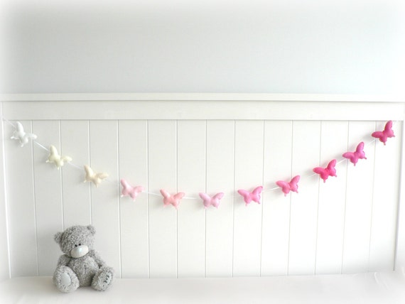 Butterfly banner/ garland/ bunting - Felt pink and white butterflies - nursery decor - ombré - MADE TO ORDER