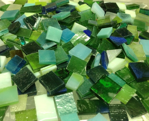 100  MIXED GREEN & BLUEGREEN - Stained Glass Mosaic Tile Supply B35