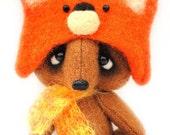 OOAK collectible teddy bear fox Napoleon. Original miniature artist.