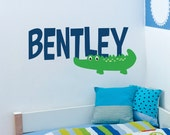 Alligator Wall Decal - Name Wall Decal - Baby Boy Name Wall Decal with Name - Crocodile Wall Deal - Boys Name Decal