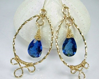 STUNNING Blue Quartz & Gold Fill Wire Wrapped Earrings, handmade ear wires