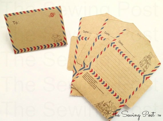 Mini Vintage Style Air Mail Cafe Notes: Set of 10