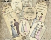 Jane Austen Sense and Sensibility bookmarks and tags digital collage sheet