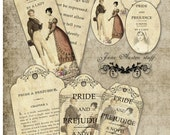 Jane Austen Pride and Prejudice bookmarks and tags digital collage sheet