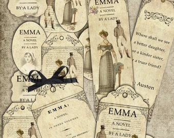 Jane Austen Emma bookmarks and tags digital collage sheet