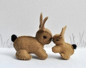 Easter Milk Chocolate Woolfelt Little Bunny and Mother
