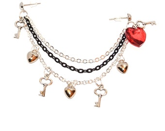 Double Piercing Swarovski Crystal Heart Key