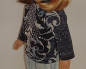 2 pc outfit of a knit tunic and fitted jeans for 18 inch dolls