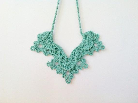 Crochet Angel Wings Necklace Mint Green