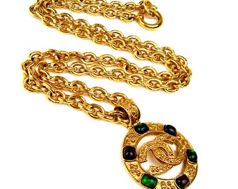 Chanel vintage CC chain necklace gripoix stones from 94A at HauteDecades on Etsy