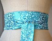 Aqua satin obi sash belt asian brocade turquoise waist cincher Ocean wedding engagement party