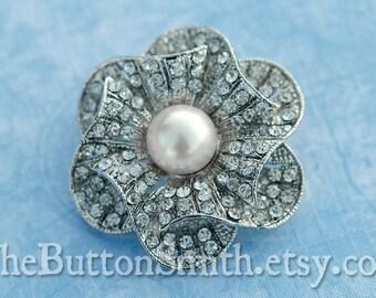 Rhinestone & Pearl Brooch Component /Embellishment(4cm) BR-012 - 1 piece